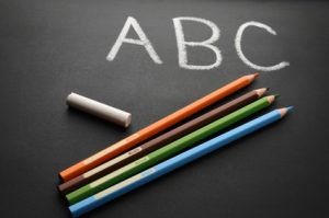 ABC on Chalkboard with colored pencils