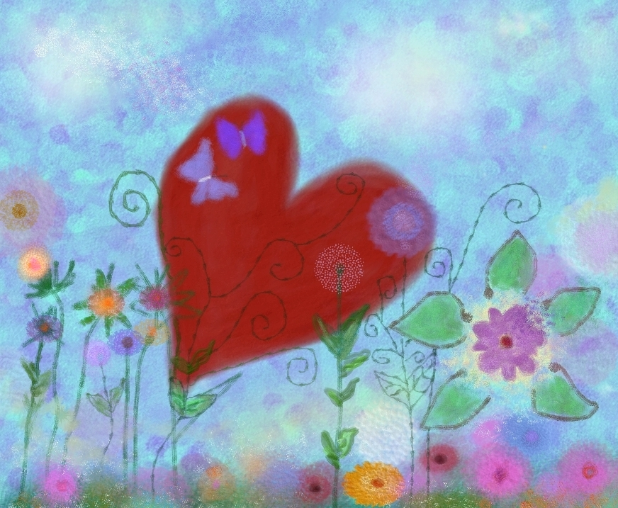 Red Heart with flowers, image